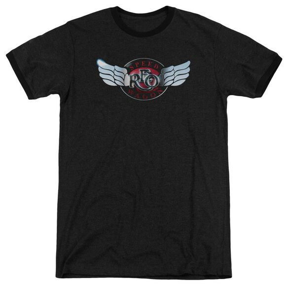 Reo Speedwagon Rendered Logo Adult Heather Ringer Black