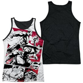 Superman Angry Red Adult Poly Tank Top Black Back