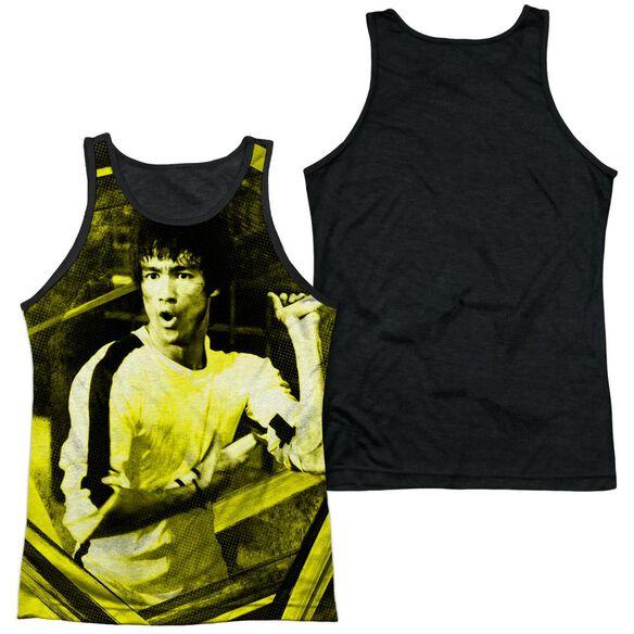 Bruce Lee Stripes Adult Poly Tank Top Black Back