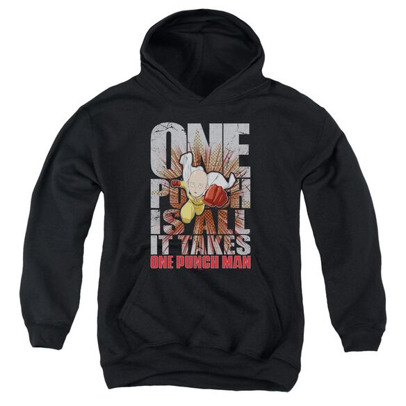 One Punch Man One Punch Is All It Takes Youth Pull Over Hoodie