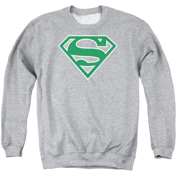 Superman Green &Amp; White Shield Adult Crewneck Sweatshirt Athletic