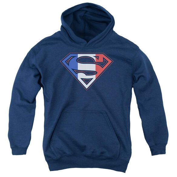 Superman French Shield Youth Pull Over Hoodie