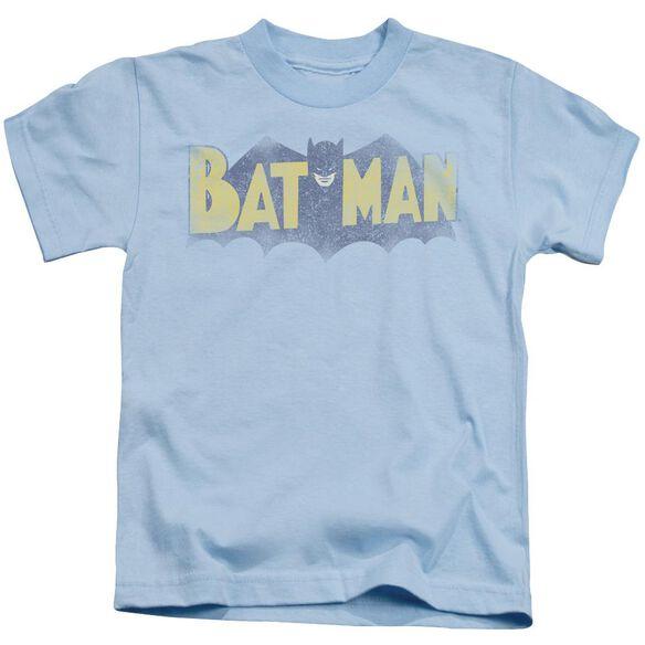 Batman Vintage Logo Short Sleeve Juvenile Light Blue T-Shirt