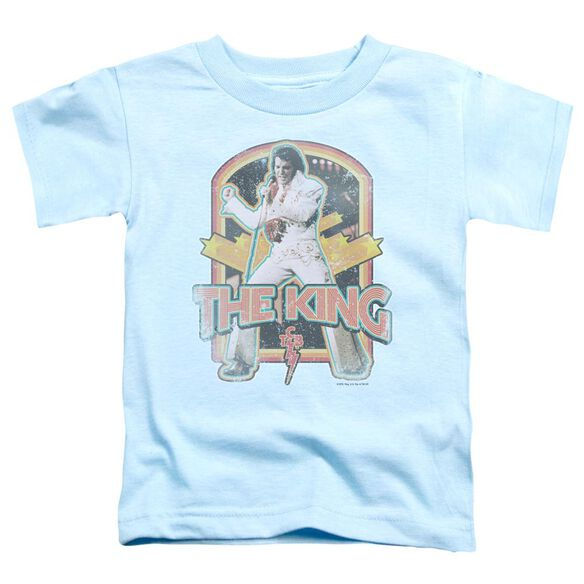 Elvis Distressed King Short Sleeve Toddler Tee Light Blue T-Shirt