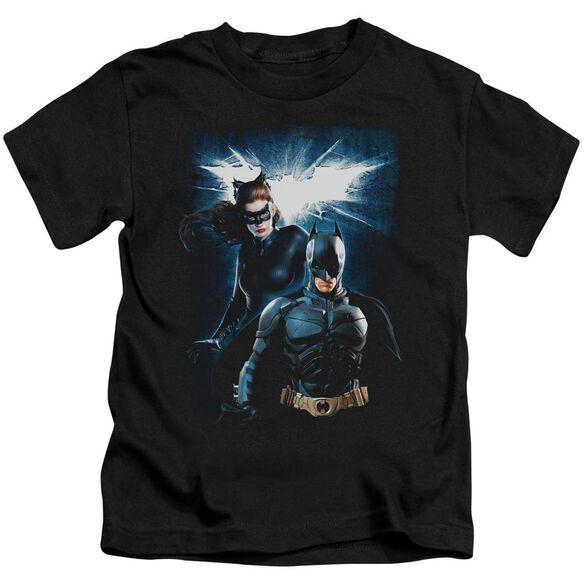 Dark Knight Rises Bat & Cat Short Sleeve Juvenile Black Md T-Shirt