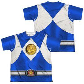Power Rangers Blue Ranger Emblem (Front Back Print) Short Sleeve Youth Poly Crew T-Shirt