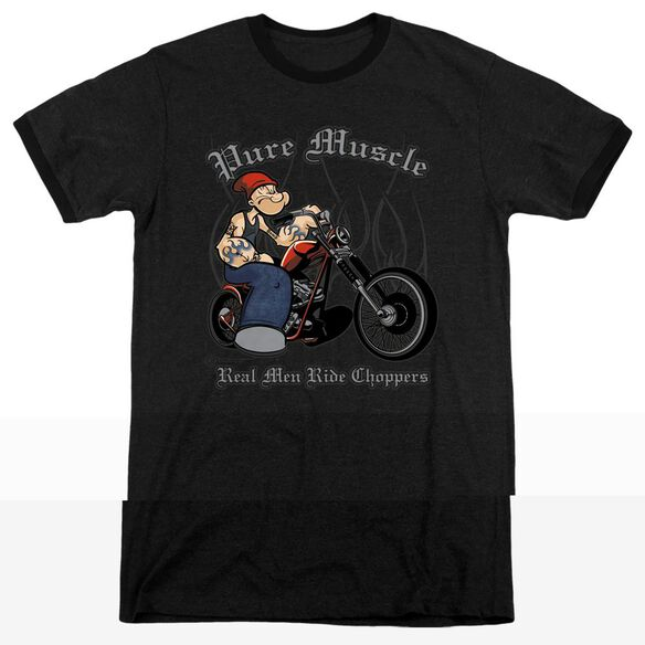 Popeye Pure Muscle - Adult Heather Ringer - Black