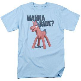Gumby Wanna Ride Short Sleeve Adult Light T-Shirt