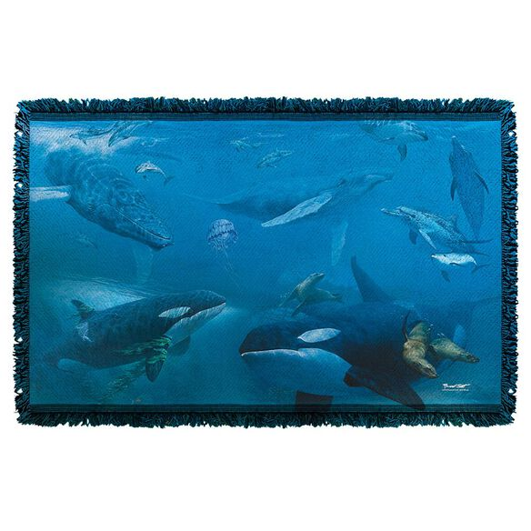 Wild Wings Whales 2 Woven Throw