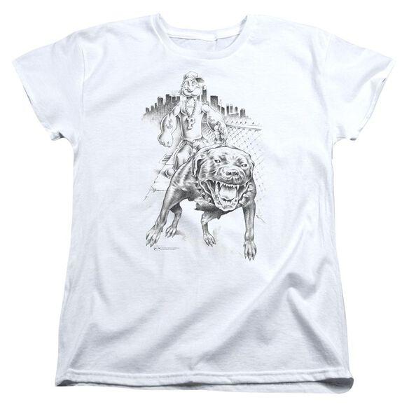 Popeye Walking The Dog Short Sleeve Womens Tee White T-Shirt