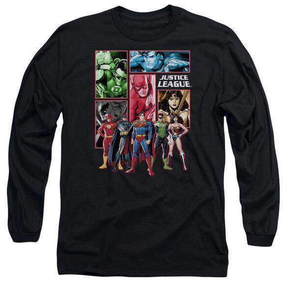 Jla Justice League Panels Long Sleeve Adult T-Shirt