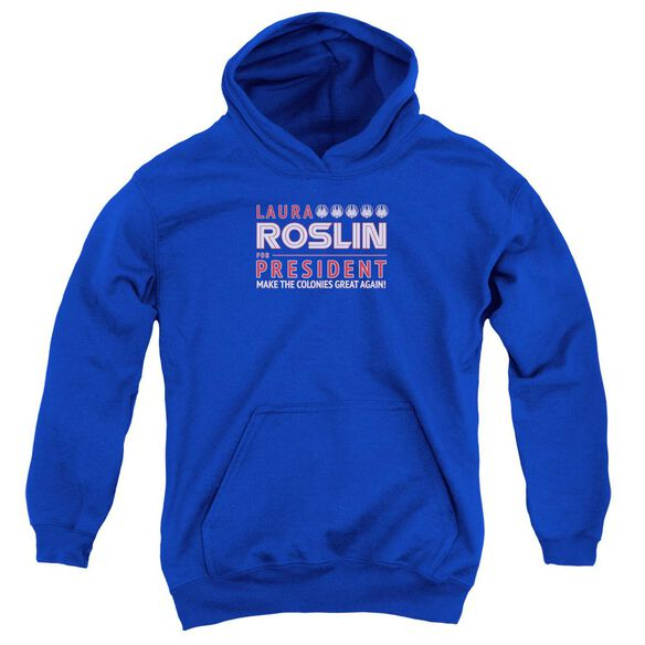 Bsg Roslin For President Youth Pull Over Hoodie Royal