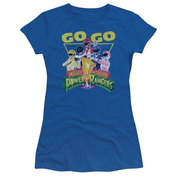 Power Rangers Go Go Short Sleeve Junior Sheer Royal T-Shirt