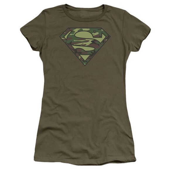Superman Camo Logo Short Sleeve Junior Sheer Military T-Shirt