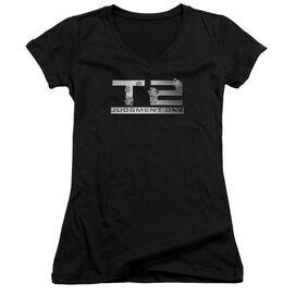 Terminator 2 Gunshot Logo Junior V Neck T-Shirt