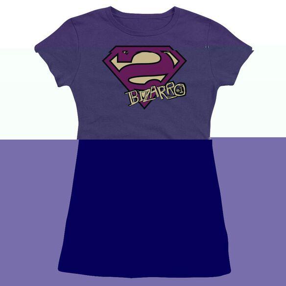 SUPERMAN BIZARRO SHIELD - S/S JUNIOR SHEER - PURPLE T-Shirt