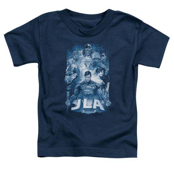Jla Burst Short Sleeve Toddler Tee Navy Lg T-Shirt