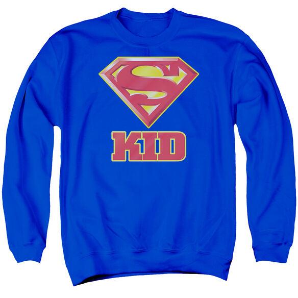 Superman Super Kid - Adult Crewneck Sweatshirt - Royal Blue