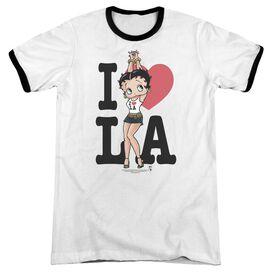 Betty Boop I Heart La Adult Ringer White Black