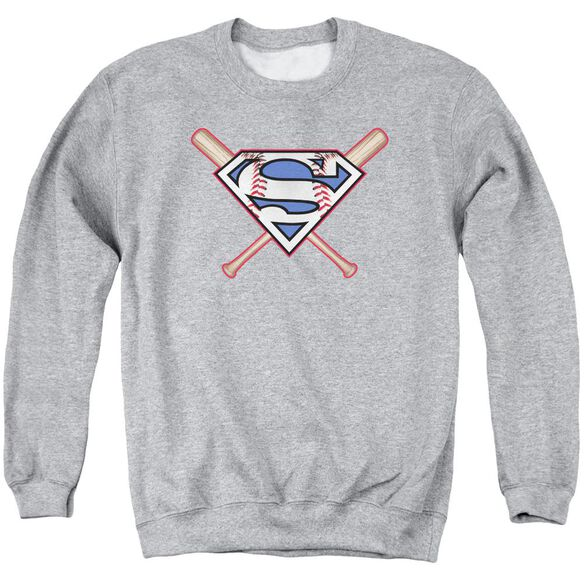 Superman Crossed Bats Adult Crewneck Sweatshirt Athletic