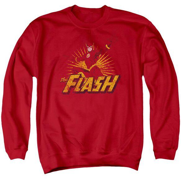 Jla Flash Rough Distress Adult Crewneck Sweatshirt