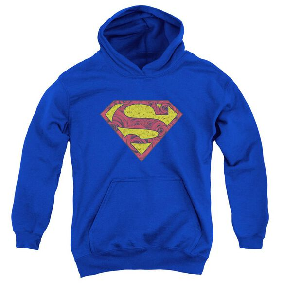 Superman Rosey Shield Youth Pull Over Hoodie Royal