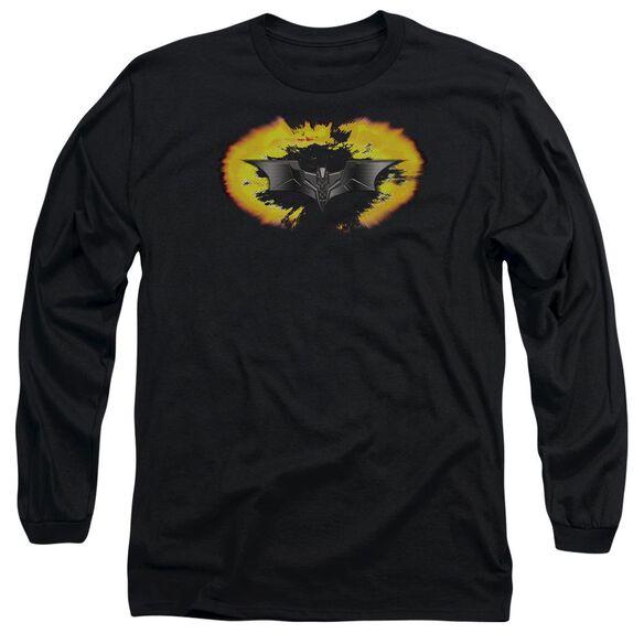Dark Knight Armor Logo Explosion Long Sleeve Adult T-Shirt