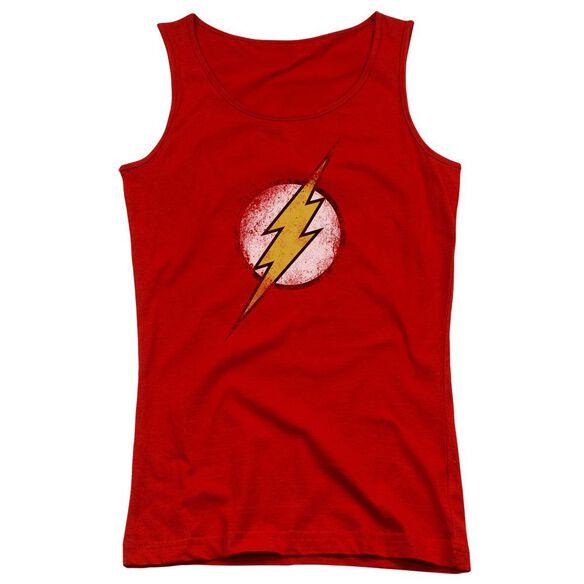 Jla Destroyed Flash Logo Juniors Tank Top