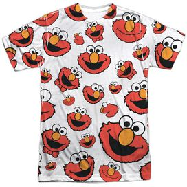 Sesame Street Elmo Face Pattern Short Sleeve Adult Poly Crew T-Shirt