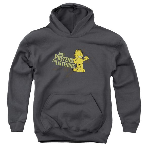 Garfield Just Pretend I'm Listening Youth Pull Over Hoodie