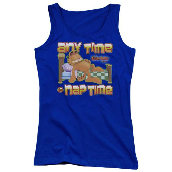 Garfield Nap Time Juniors Tank Top Royal