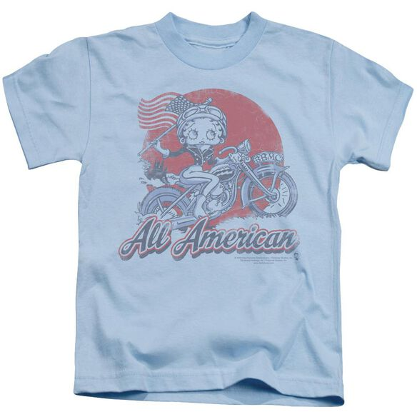 Betty Boop All American Biker Short Sleeve Juvenile Light Blue T-Shirt