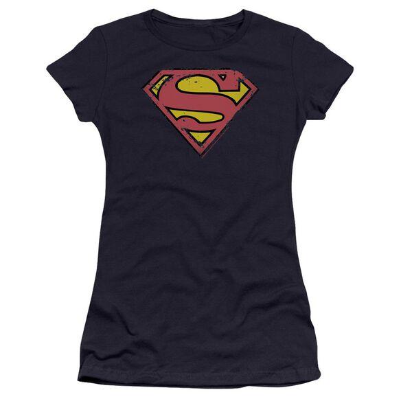 Superman Distressed Shield Premium Bella Junior Sheer Jersey