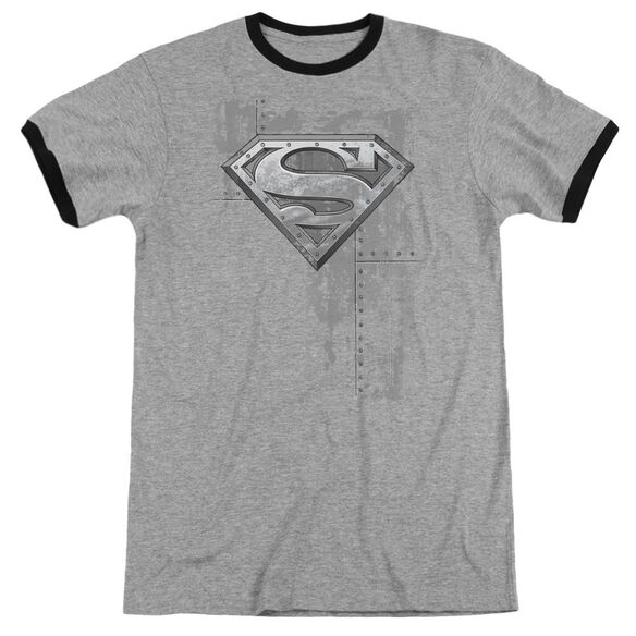 Superman Riveted Metal Adult Ringer Heather Black