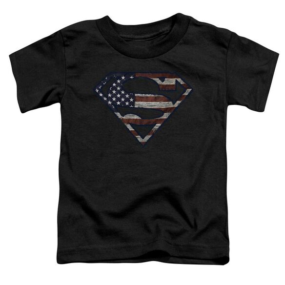 Superman Wartorn Flag Short Sleeve Toddler Tee Black T-Shirt