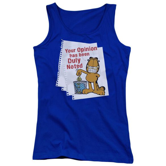 Garfield Duly Noted Juniors Tank Top Royal