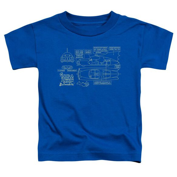 Batman Batmobile Short Sleeve Toddler Tee Royal Blue T-Shirt