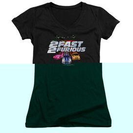 2 Fast 2 Furious Logo - Junior V-neck - Black - Lg - Black