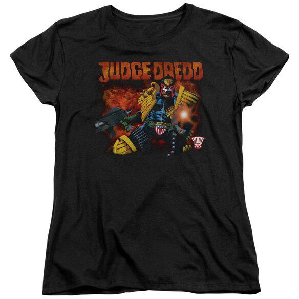 Judge Dredd Through Fire Short Sleeve Womens Tee T-Shirt
