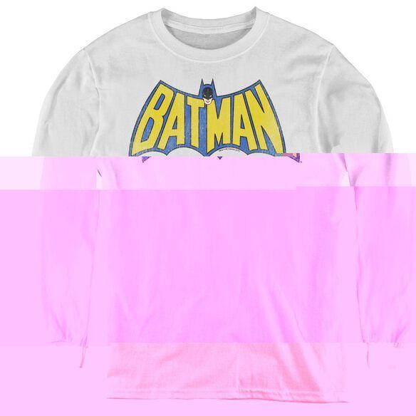 Dc Classic Batman Logo - Youth Long Sleeve Tee - White