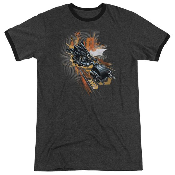 Dark Knight Rises Batpod Adult Heather Ringer Charcoal