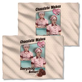 I Love Lucy Friends And Chocolate Pillow Case White