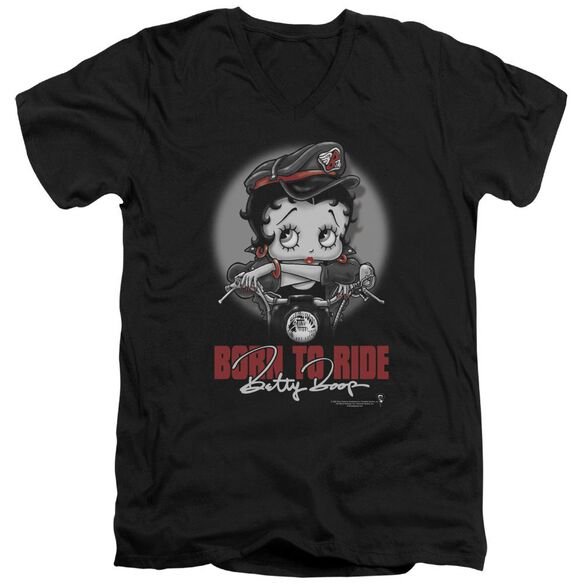 Betty Boop Born To Ride Short Sleeve Adult V Neck T-Shirt