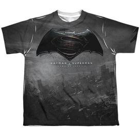 Batman Vs Superman Logo City Short Sleeve Youth Poly Crew T-Shirt