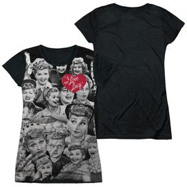 I Love Lucy Faces Short Sleeve Junior Poly Black Back T-Shirt