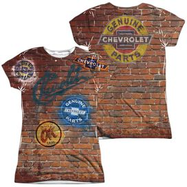 Chevrolet Chevy Shop Wall (Front Back Print) Short Sleeve Junior Poly Crew T-Shirt