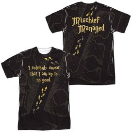 Harry Potter Marauders Map (Front Back Print) Short Sleeve Adult Poly Crew T-Shirt