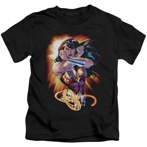 Jla Wonder Rays Short Sleeve Juvenile Black T-Shirt