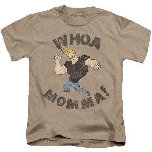 Johnny Bravo Whoa Momma Short Sleeve Juvenile Sand T-Shirt