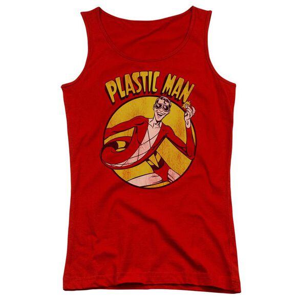 Dc Plastic Man - Juniors Tank Top - Red